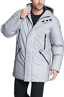 DKNY 男式防水连帽徽标派克大衣夹克