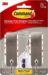 Command Medium 拉丝镍装饰 2 Hooks Per Pack 17034BN2-ES