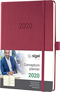 SIGEL C2068 周日歷2020年,A5,精裝,玫瑰紅 - 概念