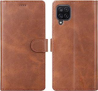 Cresee 兼容三星 Galaxy A12 手机壳,PU 皮革钱包翻盖保护套 [3 个卡槽 1 个钱袋] [磁扣] [支架] 对开式手机壳 - 棕色