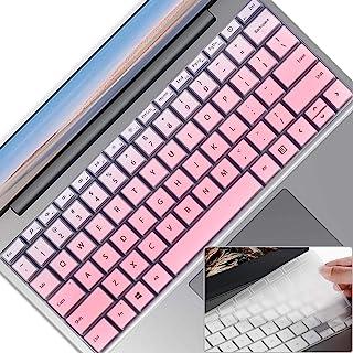 2 件笔记本电脑键盘保护套,适用于 Microsoft 微软 Surface 笔记本电脑 Go 12.4 英寸(2020),超薄透明软触摸键盘膜,Surface 笔记本电脑 Go (2020) 配件,美式布局,渐变粉色+透明