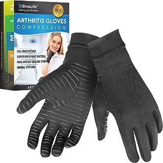 BreoLife 压缩手套 - 铜质贴合*手套,全指和腕管设计,缓解手部关节* - 男女(中号)