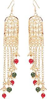 全新! Touchstone 印度宝莱坞 Desire 创意手工切割工艺 工作轻量红绿珠 设计师珠宝长吊吊灯耳环 复古金色调女式。