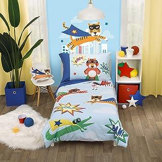 Everything Kids *英雄蓝白色彩色主要点缀披风野生动物 4 件套幼儿床套装,蓝色,橙色,*,白色