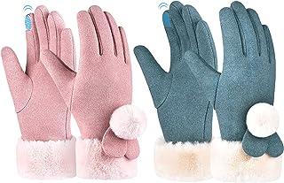儿童冬季保暖羊毛手套 - 2 双女孩触屏手套全手指防风手套,适合 6-12 岁儿童