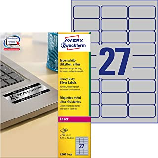AVERY Zweckform L6011-100 类型标牌薄膜标签 2700 张贴纸,100 张,银色,99.1 x 67.7 毫米