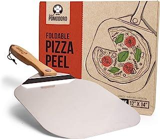 Chef Pomodoro 铝金属披萨铲,带可折叠木柄,方便储存 12 英寸 x 14 英寸,美食奢华披萨插片适用于烘焙自制披萨面包