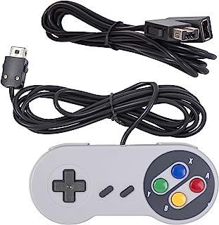 适用于 SNES NES MINI 的 Mario Retro 2017 版控制器 - 带 6 英尺(约 1.8 米)延长连接线兼容任天堂 Mini NES 经典版 - 2016 年新款 NES 经典迷你版本-顶部有线Joypad 和游戏