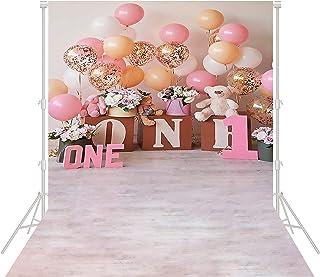 Happy 1 岁生日背景 迎婴派对横幅 摄影用品 装饰粉色气球背景 女孩 公主 *岁生日 蛋糕装饰 视频工作室 拍照 乙烯基