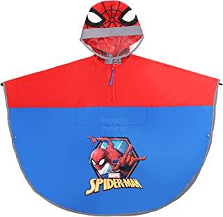 Marvel 蜘蛛侠连帽雨披夹克雨衣 雨衣 适合男孩 幼儿 儿童