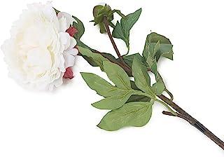 花卉优雅人造 80 厘米单茎白色牡丹花 x 6