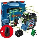博世专业 12V 系统线激光 GLL 3-80 CG(2x 12V 电池、充电器、绿色激光器,带应用功能、通用安装、工作…