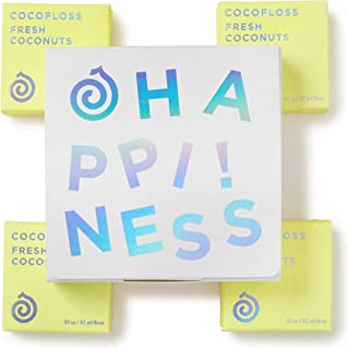 COCOFLOSS 椰子油注入豪华牙线   *设计   素食主义者 无刺激性 GF   男女牙线派对   8 个月供应 ( 32 码 x 4 件 ) 椰子