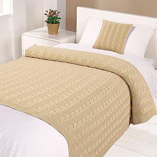 Highams 棉质编织电缆针织床毯,自然,单人床