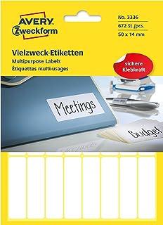 Avery Zweckform 3336 家用标签 自粘 ( 50 x 14毫米 , 672张贴纸 28页纸 , 多功能标签 , 用于家庭、学校和办公室用于书写和标记) 空白 , 白色