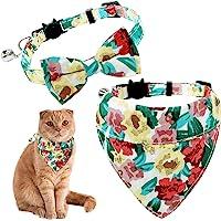 KUDES 2 件装分离式猫项圈,带可拆卸蝴蝶结和头巾,可爱的花卉图案小猫蝴蝶结项圈带铃铛,适合猫咪小狗,可调节范围为…