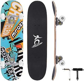 Mixhomic 滑板 31 英寸完整滑板,7 层加拿大枫木板滑板,带 ABEC-7 轴承和 PU 轮,适合儿童、成人、初学者和专业人士的滑板