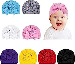 8 件婴儿头巾帽新生儿*帽子带蝴蝶结女婴帽子,头巾包结婴儿小豆娃女婴柔软可爱帽,带甜圈,婴儿头巾结帽幼儿头巾打结帽