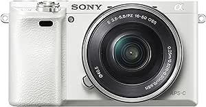 Sony 索尼 Alpha 6000 系统相机(2400 万像素,7.6 厘米(3 英寸)液晶显示屏,Exmor APS-C 传感器,全高清,高速混合 AF)白色