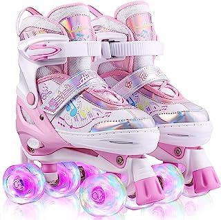 ANCHEER 女童溜冰鞋 三重锁网眼透气四轮滑鞋尺寸可调四轮滑鞋 发光溜冰鞋