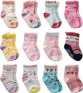 12 双装童装女孩手袜,女婴家居袜防滑