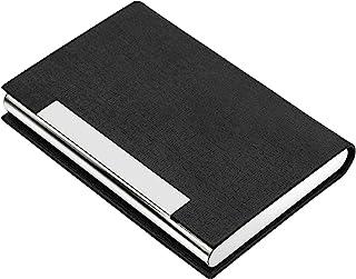 AYCLIF 名片盒专业PU皮革金属姓名卡支架包名片夹,适合男士和女士,带磁扣