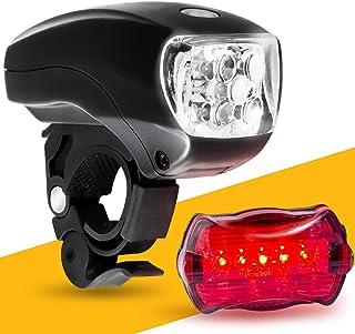 BoG 产品 LED 自行车灯套装。 自行车大灯和尾灯组合。 Ultrabright 5 LED 套件。 适用于自行车或滑板车。 自由高可视度反射镜~ BG 灯礼品盒如图所示