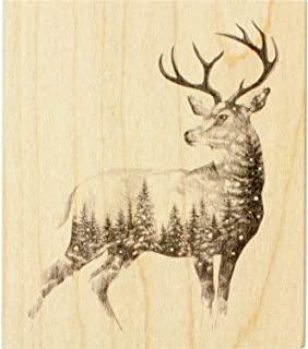 Inkadinkado 圣诞驯鹿安装橡胶印章,用于制作卡片和剪贴簿,3.5'' x 4'' x 1''