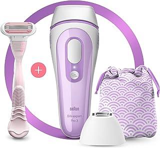 BRAUN 博朗 IPL Silk Expert Pro 3 PL3132新一代IPL,永久性激光去毛器,适用于女性,带有袋子,Venus剃刀和精密刀头,白色和淡紫色