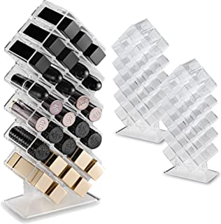 byAlegory (2 件套)丙烯酸唇膏化妆收纳盒架 28 个空间*化妆品存储设计,平放并可堆叠填充 - 透明