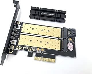 Micro Connectors M.2 NVMe + M.2 SATA 80 毫米 SSD PCIe x4 适配器 带散热器 (PCIE-M20802HS)