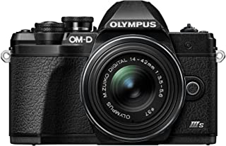 Olympus 奥林巴斯 OM-D E-M10 Mark III S 系统相机套装,1600万像素传感器,5轴图像稳定,HD LCD 屏幕,4K,Wi-Fi,电子取景器,黑色,包括M.*ko Digital ED 14-42毫米 EZ,黑色