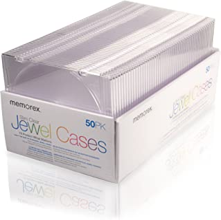 Memorex 5mm 超薄 CD/DVD 宝石盒 - 50 包 - 透明