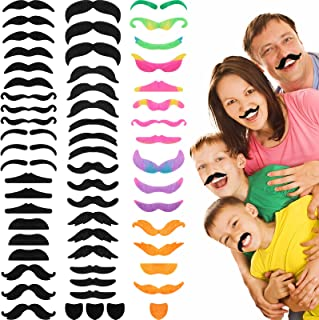64 件假胡须自粘毛胡须新奇假胡子服装搞笑面部*生日和万圣节派对用品