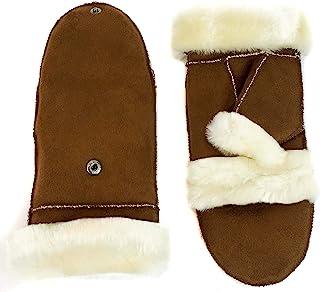 surell 儿童仿羊毛翻盖手套 - 儿童保暖冬季手套 - 时尚寒冷天气配饰 - 女孩和男孩的手饰 - 栗色和象牙色