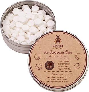 SuperBee Dentos Eco 牙膏片 | 可重复使用的罐装,带100个刷牙标签 | 环保,不含塑料,天然 | 清洁牙齿,清新口气