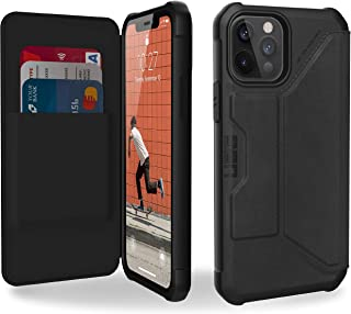 Urban Armor Gear Metropolis 对开式手机壳 Apple iPhone 12 / iPhone 12 Pro (6.1 英寸)皮套 - [无线充电(Qi)兼容,翻盖手机套带支架功能和卡槽] 皮革ARMR 黑色