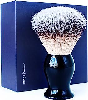 JDK 纯素剃须刷 高级合成鬃毛 黑色亚克力手柄 理发沙龙工具 适用于男士使用*剃须刀、双刃剃须刀、直剃刀或剃须剃须刀