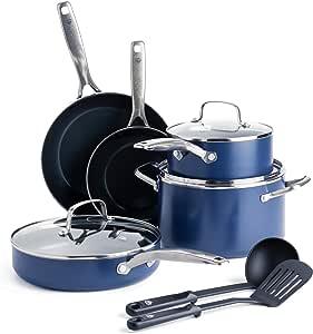 Blue Diamond Pan CC001951-001 厨具-套装,蓝色 蓝色 10pc B07CZH2GY9