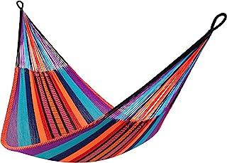 """黄叶吊床 – """"Kokomo"""" 吊床,SJ-Kokomo,家庭尺寸吊床,适合1-2 人(550 磅),多色 – 热带,手工编织,可共享,防风雨吊床"""