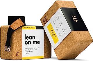 豪华软木瑜伽砖套装 – 超大瑜伽砖与高性能级葡萄牙软木 | 高*防滑支撑,更*平衡 | 2 件装 | * 棉,包含超长瑜伽带