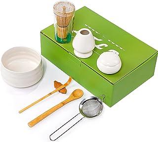 抹茶套装、竹制抹茶搅拌器、日本抹茶套装带陶瓷抹茶碗、竹勺、抹茶搅拌架、抹茶仪式套件,适用于传统日本茶典礼(*)