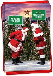 NobleWorks - 12 张盒装成人卡片 - 趣味记事簿文具,圣诞快乐贺卡(1 个设计,12 张卡片)- Santa Stiff Joints C7037XSG-B12x1