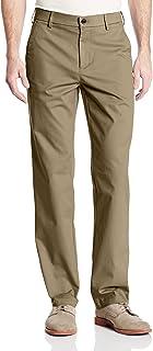 Haggar 男式性能棉质休闲直筒无褶长裤