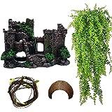 Tfwadmx 树脂经典城堡爬行动物栖息地装饰蜥蜴隐藏洞穴椰子壳屋逼真的细节装饰水族箱配件适用于胡龙、蛇、壁虎和寄生蟹