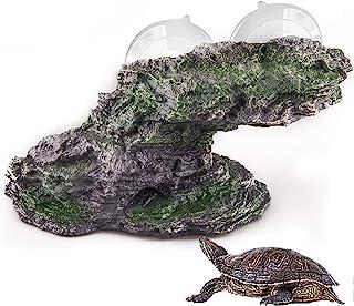 Originalidad 海龟平台,树脂阶梯边缘石爬行动物攀爬页岩水族馆装饰岩石带吸盘适用于乌龟青蛙牛特两栖蜥蜴