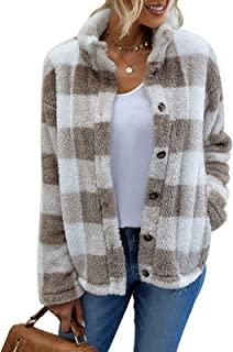 女式时尚长袖休闲格子舒适羊毛毛绒人造羊毛大衣冬季翻领系扣夹克