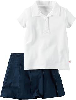 Carter's 大女孩 Polo & 百褶裙套装(儿童,白*蓝)