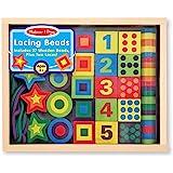 Melissa&Doug 美丽莎和豆豆 木质串珠 数字字母花纹