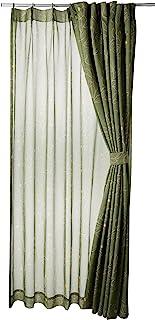 (BELLUNA)BELLUNA 线条描绘遮光窗帘&同图案的波伊尔套装 绿色 约宽100×长200cm(各2片)